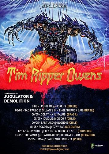 """Vulcano, do Hellish War, e Will Costa, do Higher, em turnê pela América do Sul com Tim """"Ripper"""" Owens"""