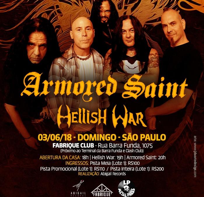 Hellish War faz show de abertura para o Armored Saint em São Paulo neste domingo